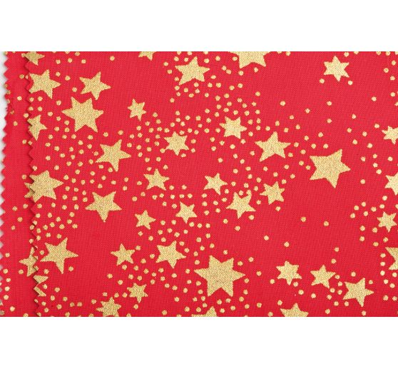 "Cotton fabric ""Stars"", red, fabrics by the meter"