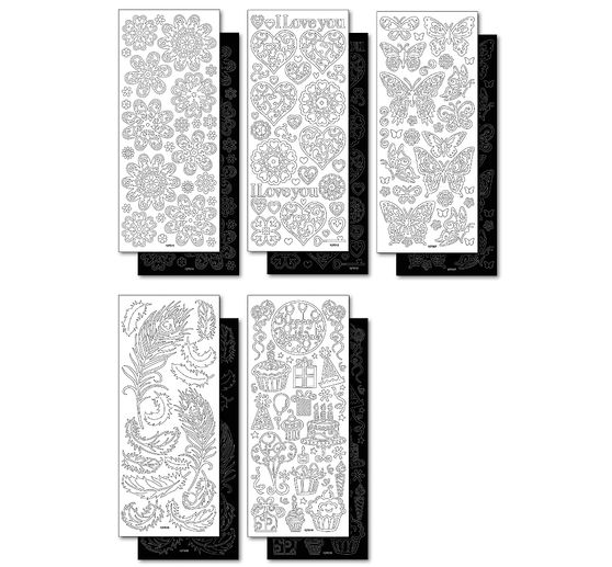 "Relief sticker set ""Black and white"", all year"