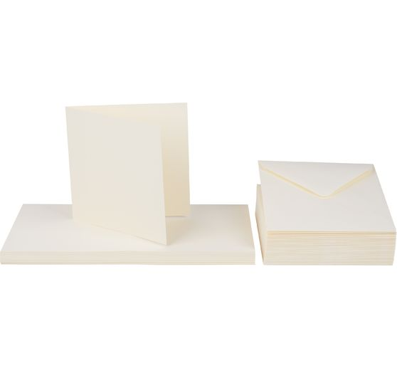 Double cards with envelopes, beige, 100 pcs