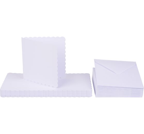 "Double cards ""Wavy edge"" with envelopes, 12,5 x 12,5 cm"