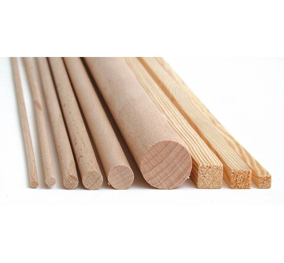 Wooden square strips of pine, 1 m, 10 x 10 mm